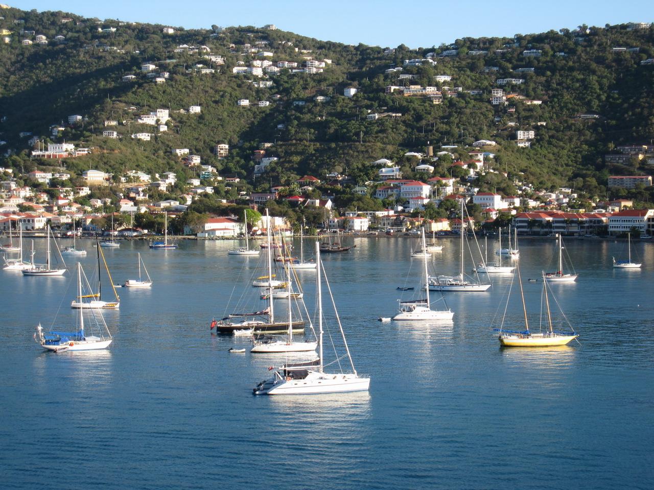 Boats anchoring at Charlotte Amalie