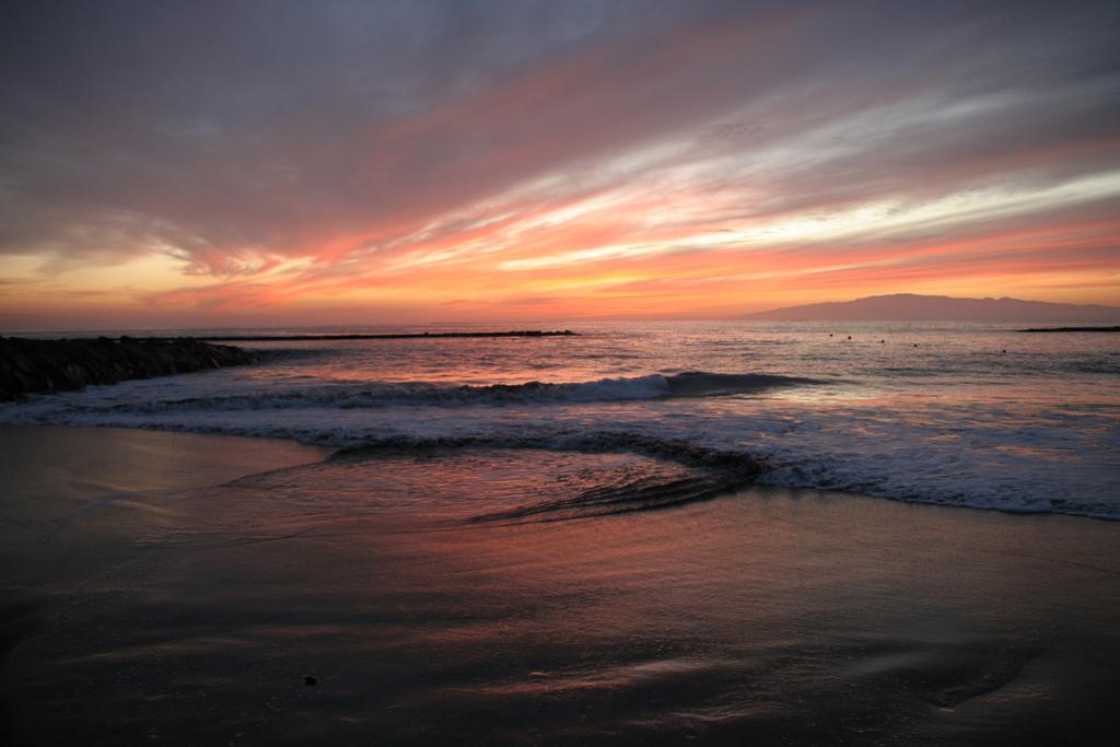 Fanabe beach at sunset