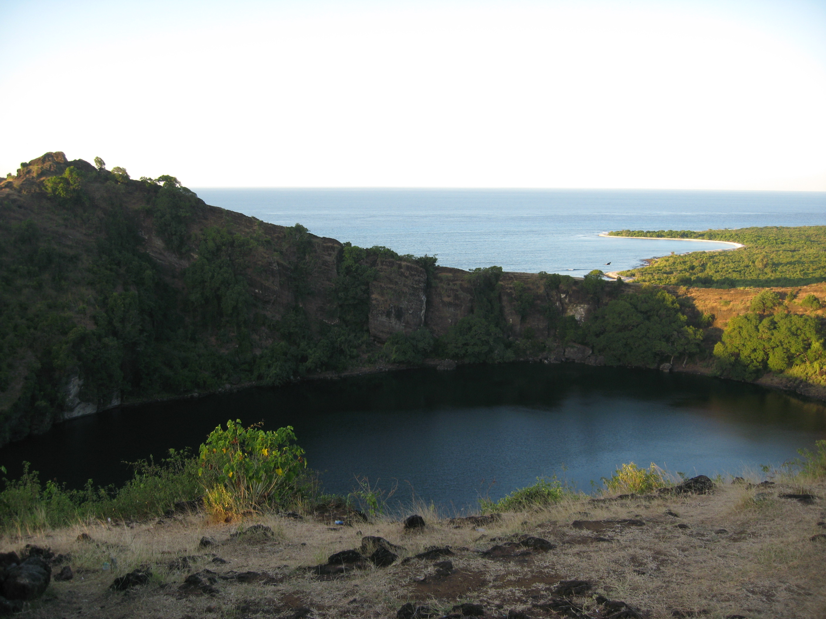 Volcanic crater turned lagoon, Grand Comore