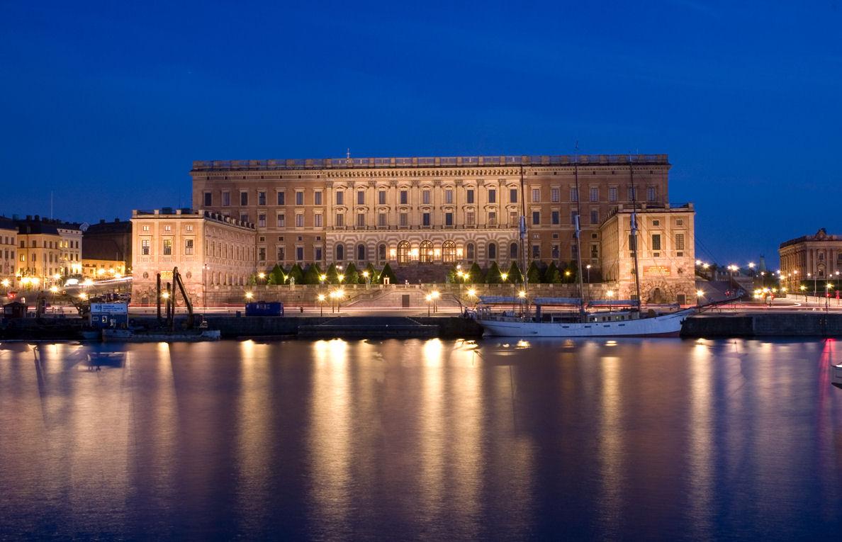 Sweden's Royal Palace at night