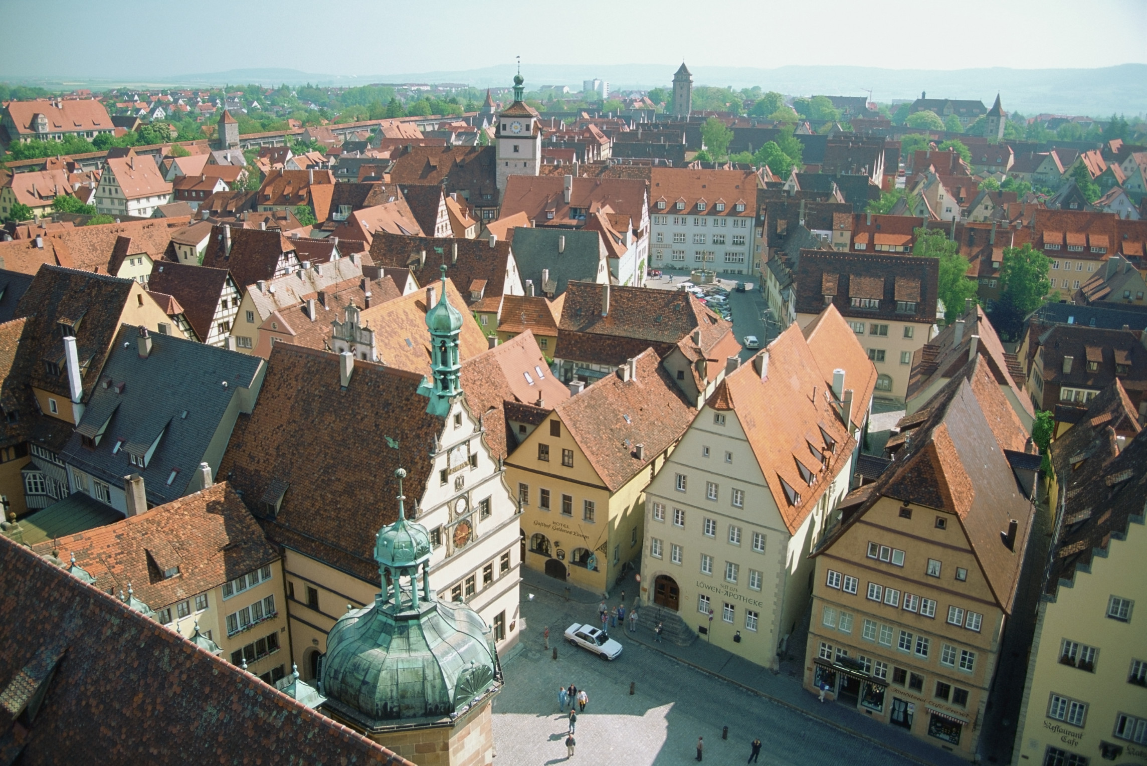 Aerial view of Rothenburg and its town square, Germany