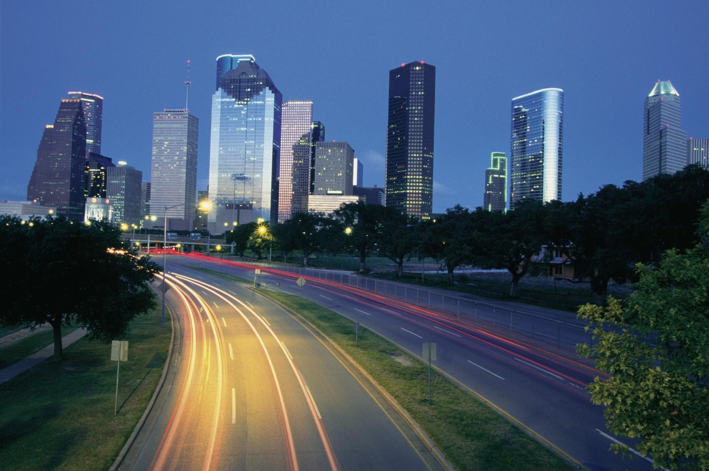 Houston at night, Texas