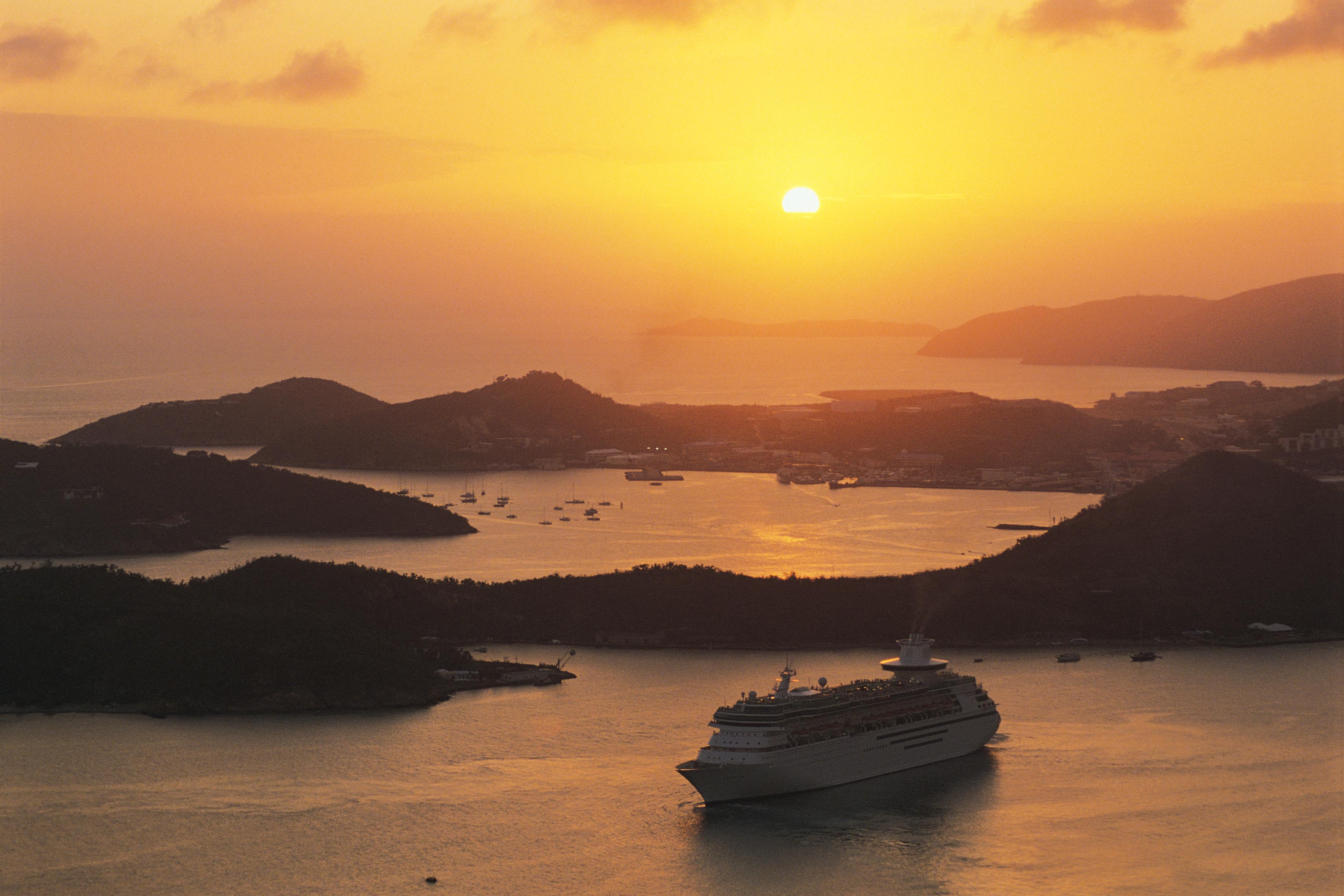 Cruise Ship at sunset, Virgin Islands