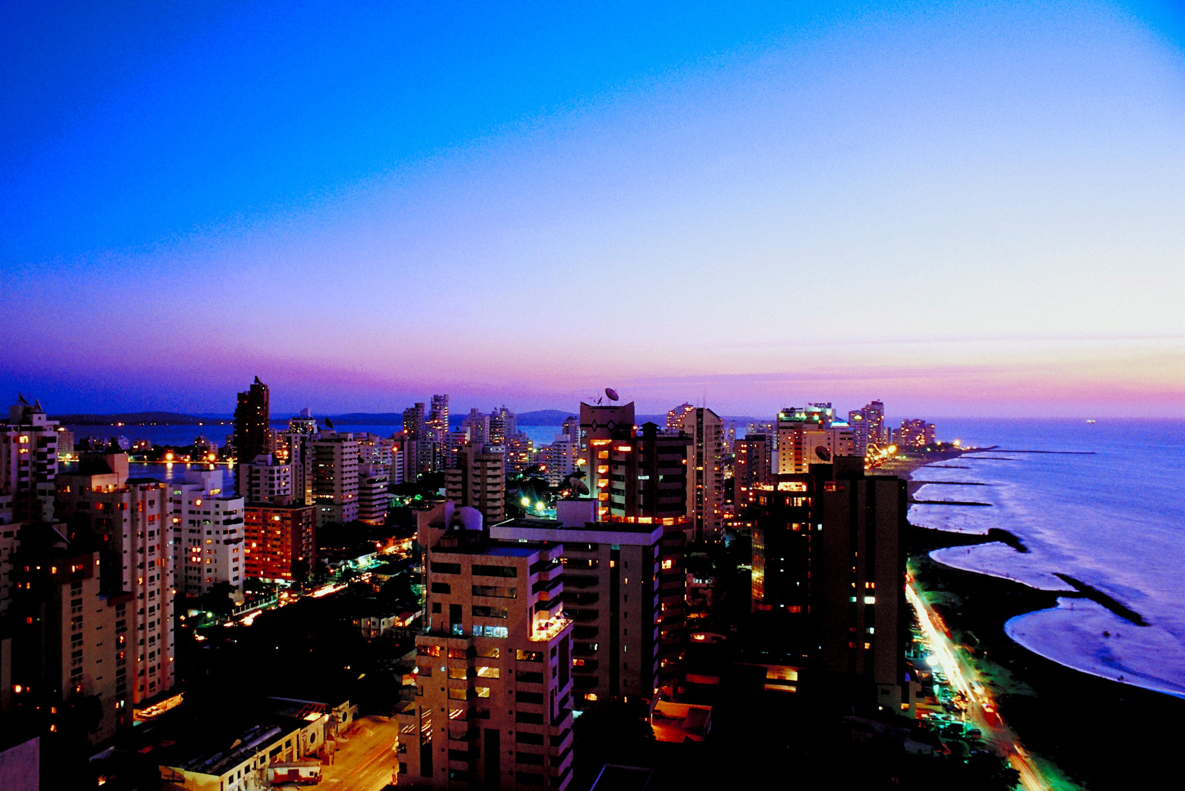 Cityscape of Cartagena Columbia at dusk