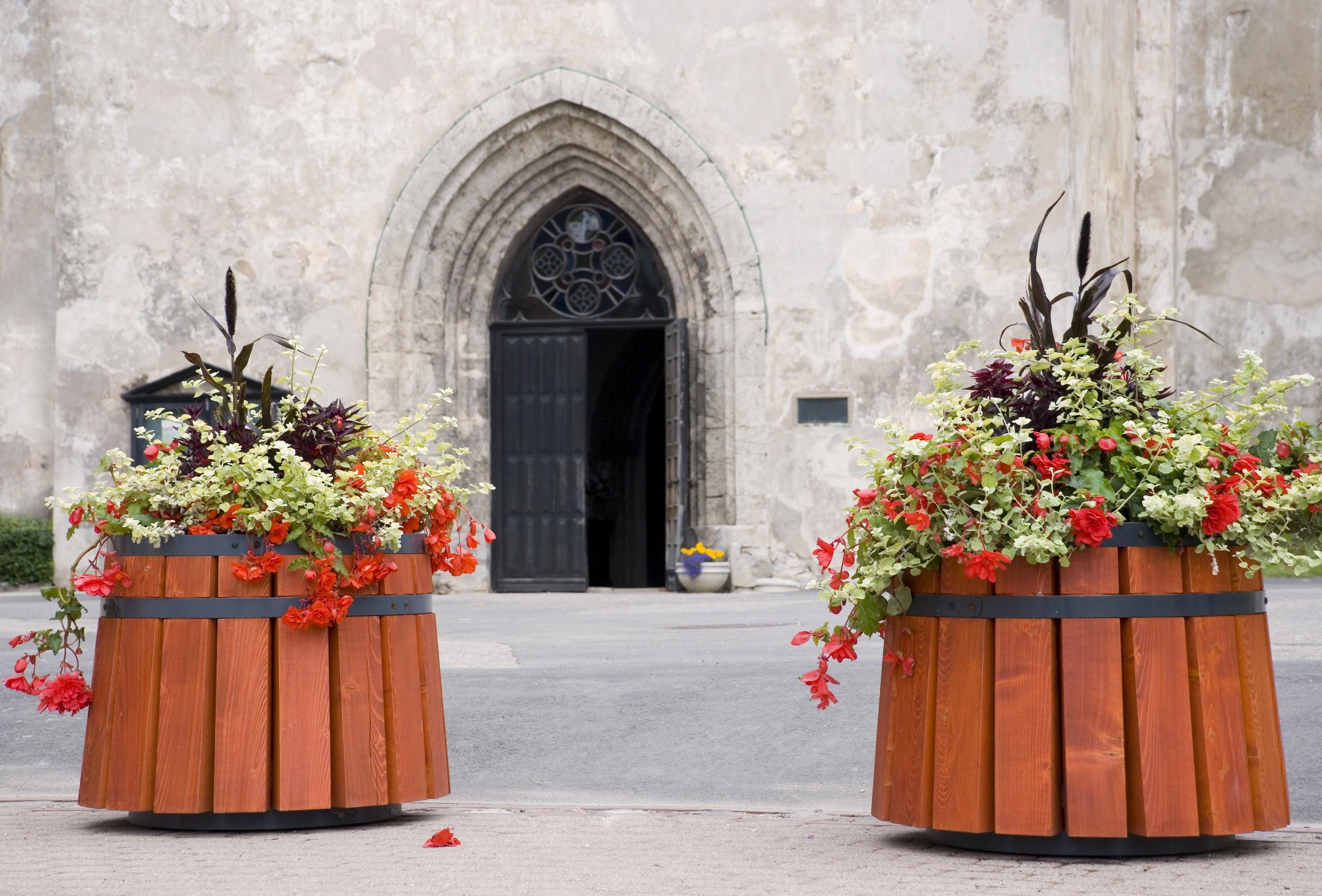 Church entrance in Cesis, Latvia