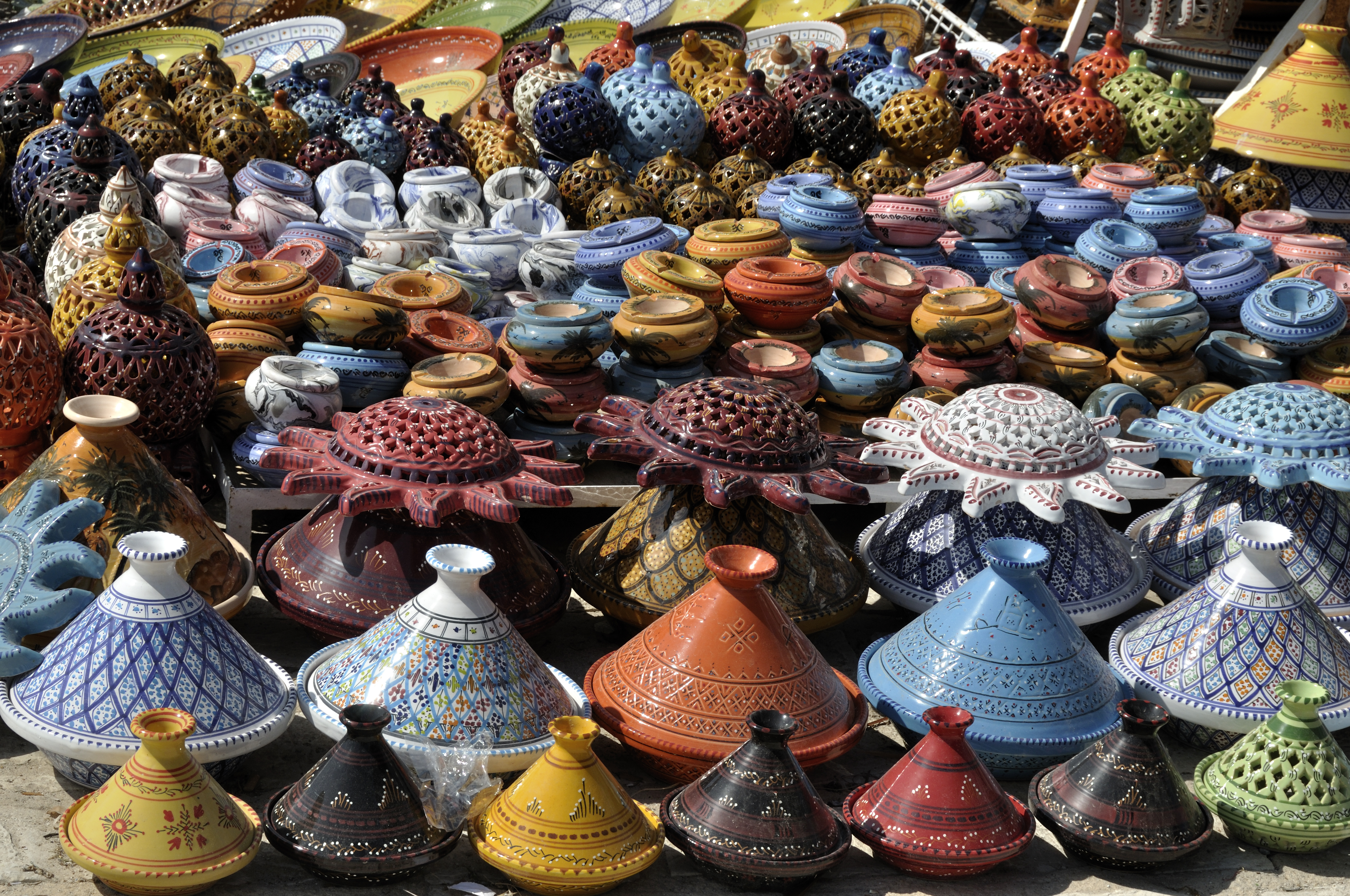 Tunisia pottery on sale in local souks