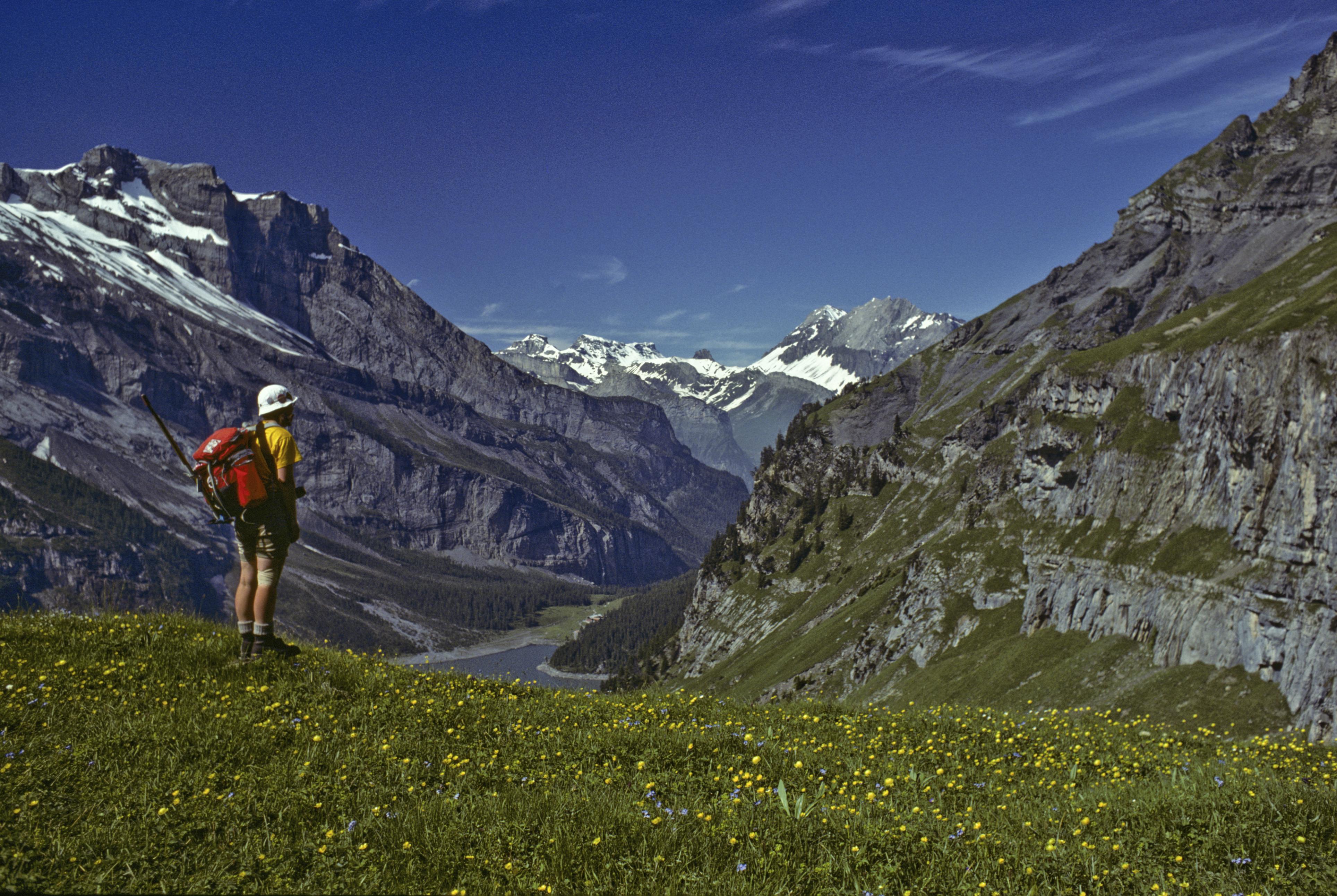 Enjoying hiking in the Swiss Alps