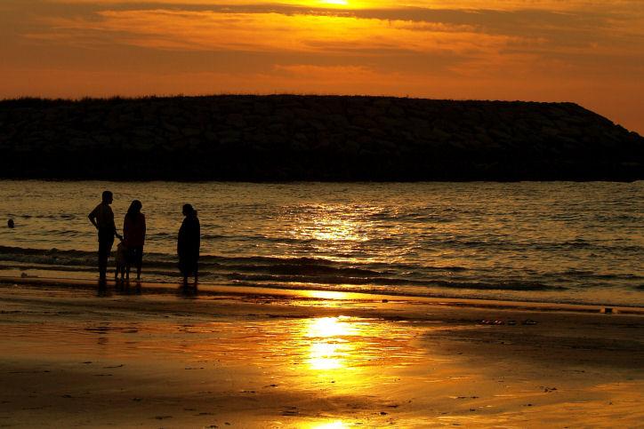 Sunset on beach, Brunei