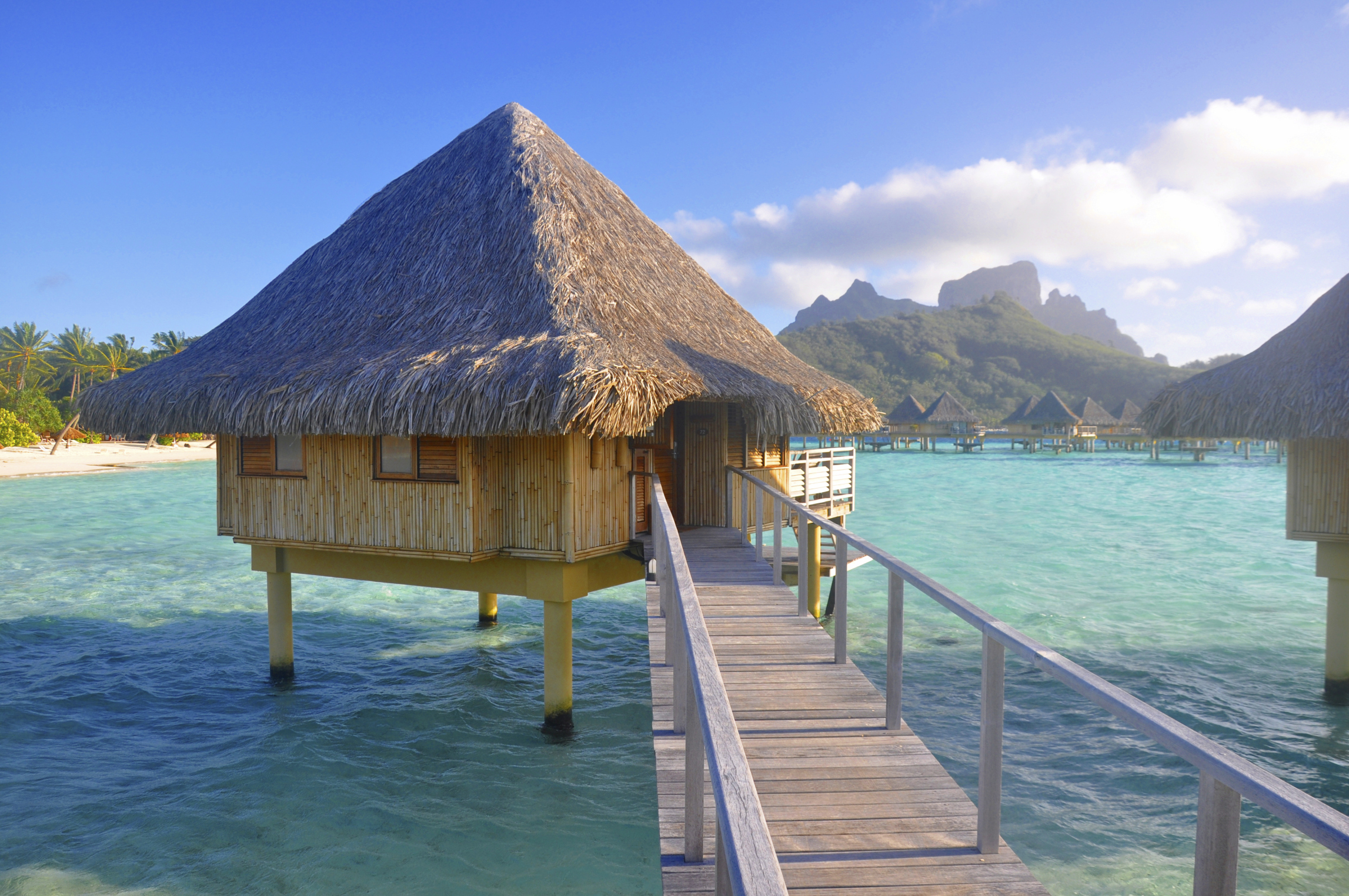 Stilted bungalow accommodation in Tahiti