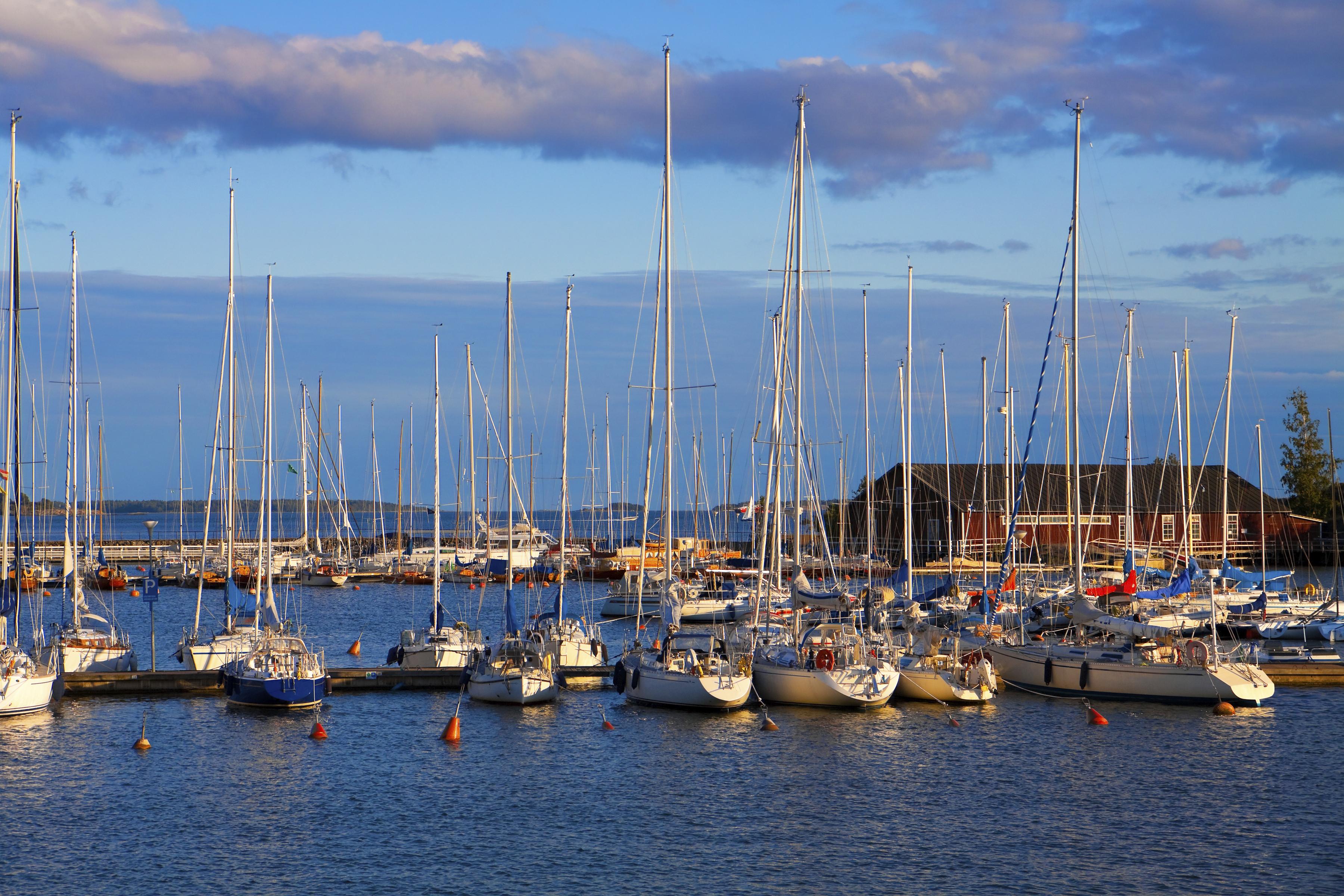 Docked yachts in Helsinki, Finland
