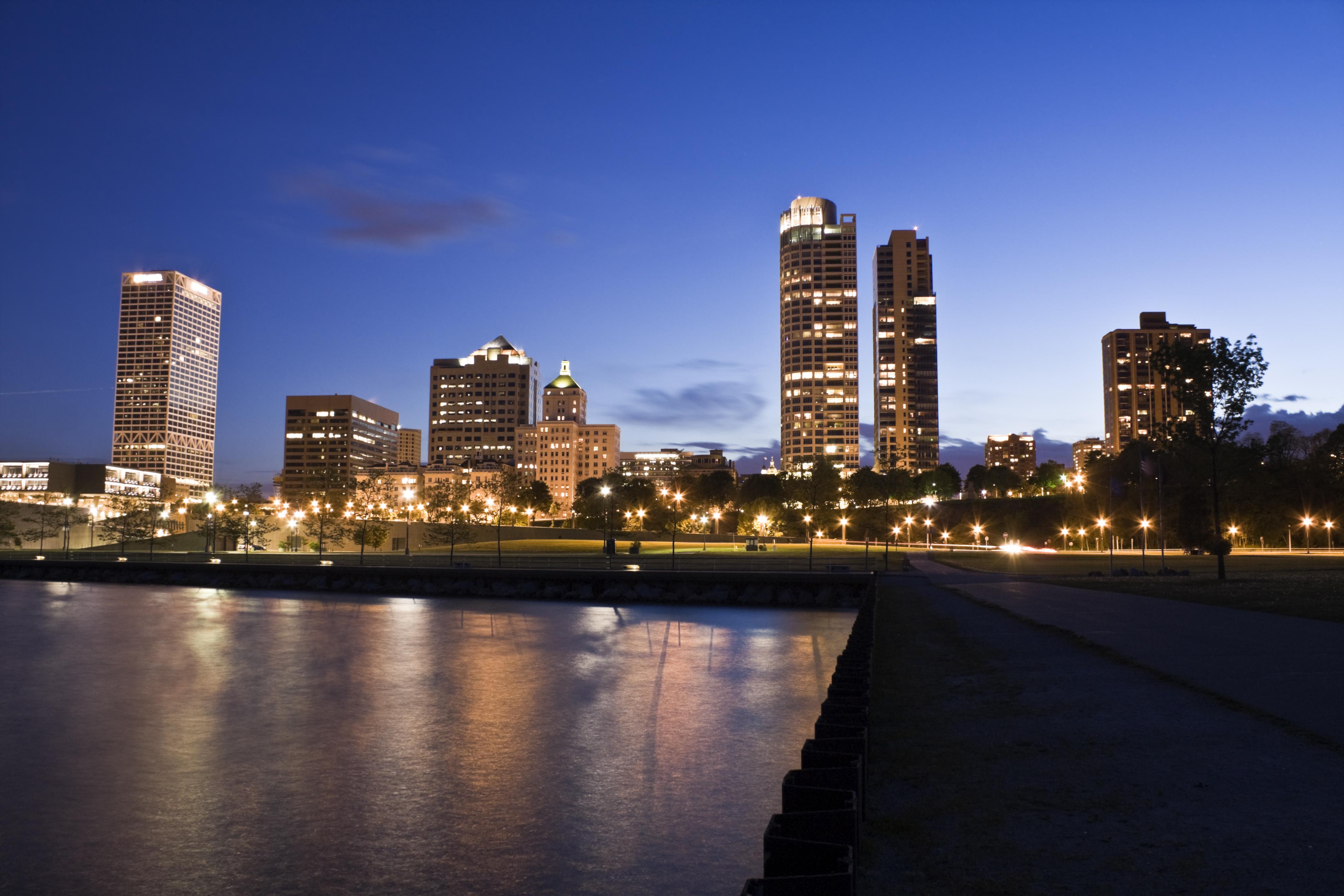 Wisconsin's biggest city, Milwaukee, at night