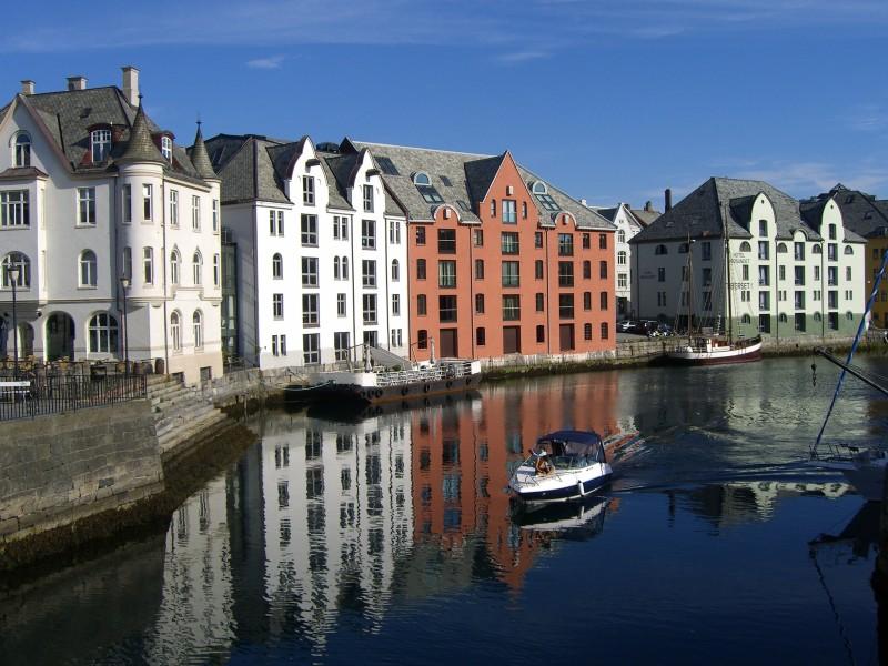 Riverside buildings in Aleseund, Norway